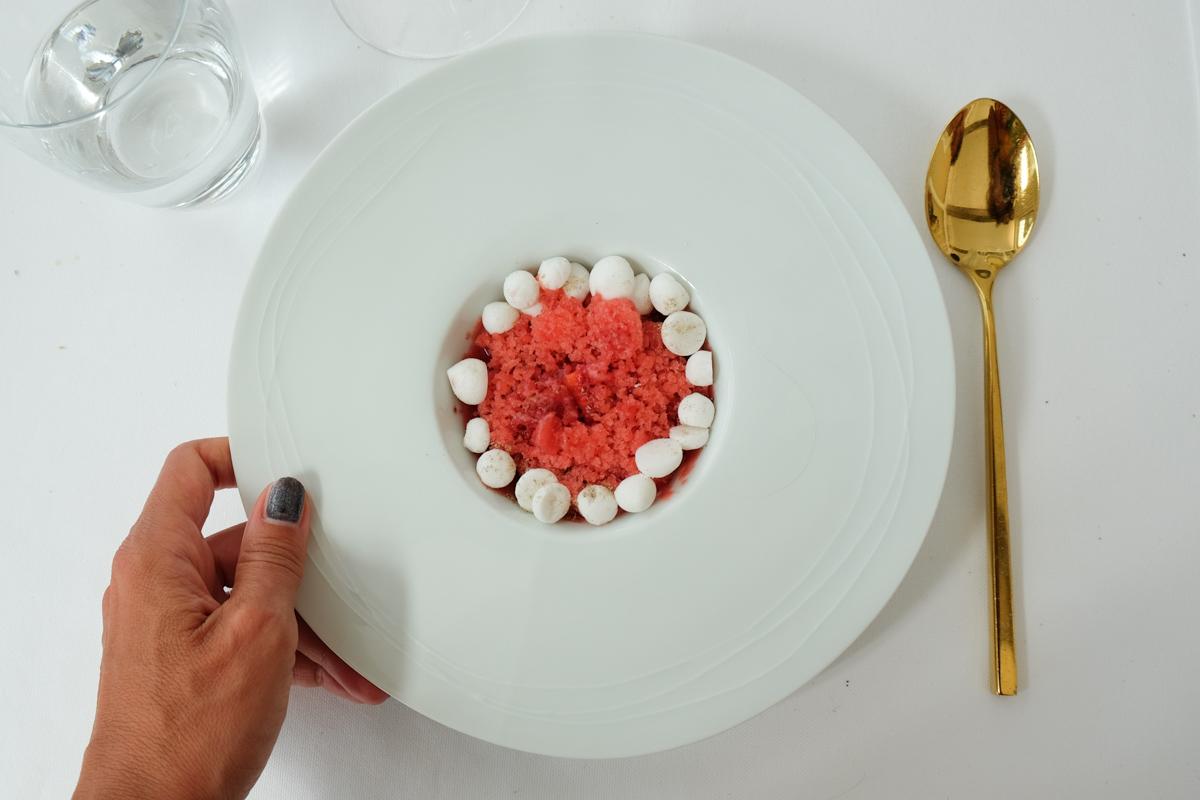 granita di fragole, fragole fresche, mascarpone Chef Uliassi